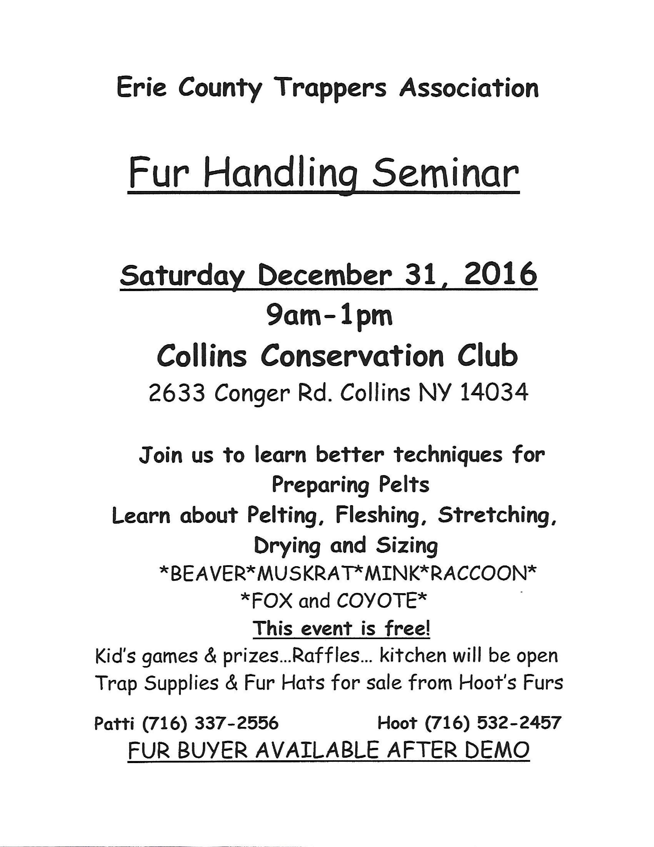 Erie County Trappers Association – Seminar on Fur Handling